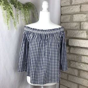 Madewell Smocked Gingham Off The Shoulder Top